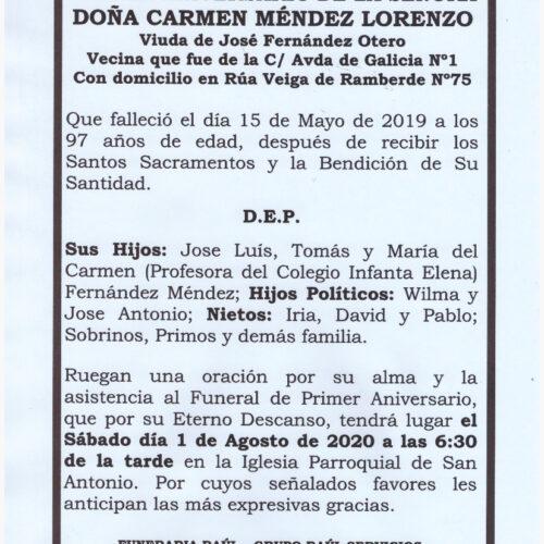 PRIMER ANIVERSARIO DE DOÑA CARMEN MENDEZ LORENZO