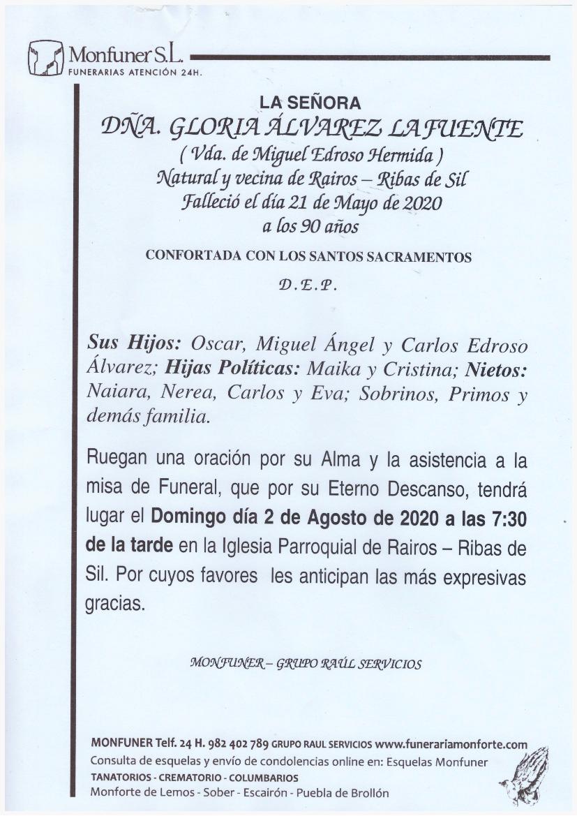 DOÑA GLORIA ALVAREZ LAFUENTE