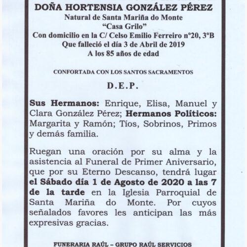 PRIMER ANIVERSARIO DE DOÑA HORTENSIA GONZALEZ PEREZ