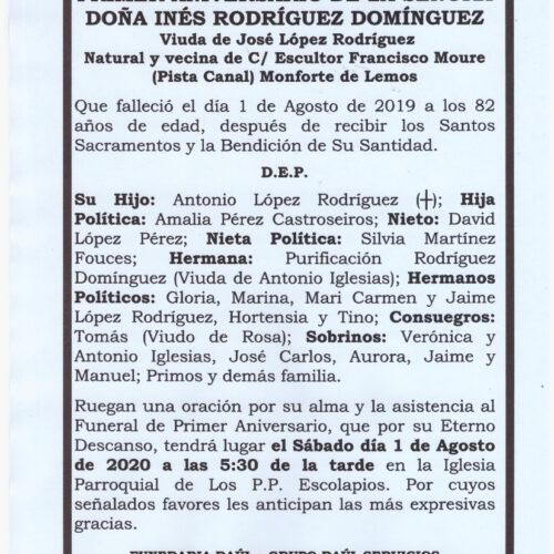 PRIMER ANIVERSARIO DE DOÑA INES RODRIGUEZ DOMINGUEZ