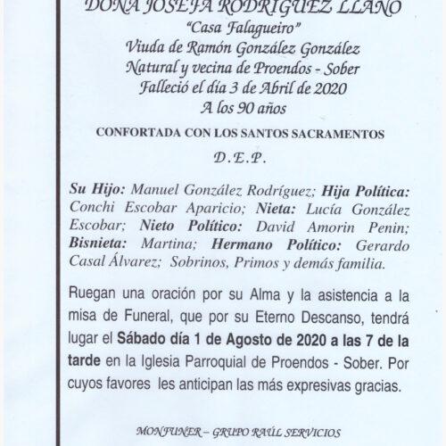 DOÑA JOSEFA RODRIGUEZ LLANO
