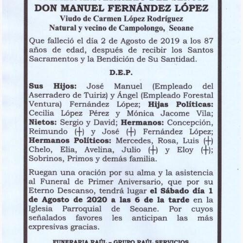 PRIMER ANIVERSARIO DE DON MANUEL FERNANDEZ LOPEZ