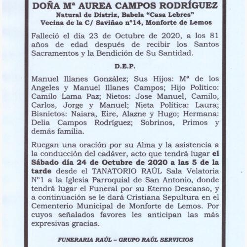 DOÑA Mª AUREA CAMPOS RODRIGUEZ