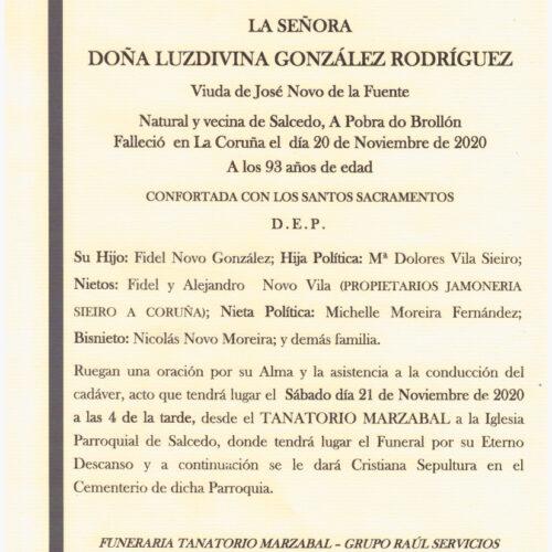 DOÑA LUZDIVINA GONZALEZ RODRIGUEZ