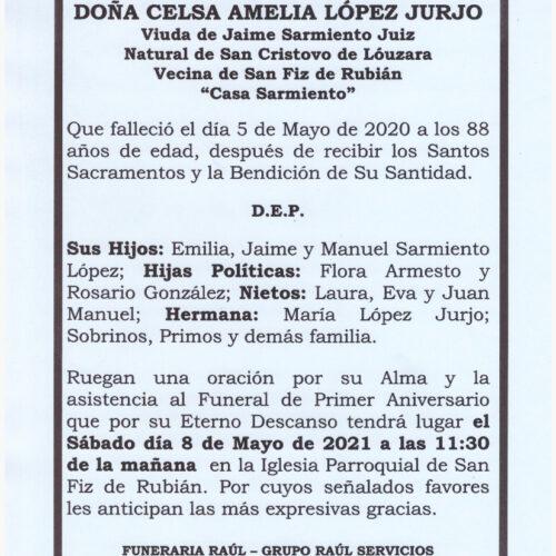 PRIMER ANIVERSARIO DE LA SEÑORA DOÑA CELSA AMELIA LOPEZ JURJO