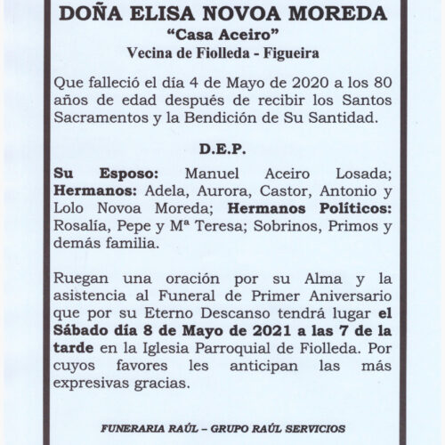PRIMER ANIVERSARIO DE DOÑA ELISA NOVOA MOREDA