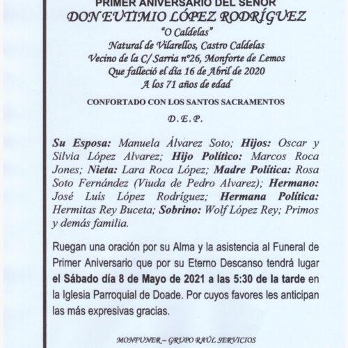 PRIMER ANIVERSARIO DE DON EUTIMIO LOPEZ RODRIGUEZ