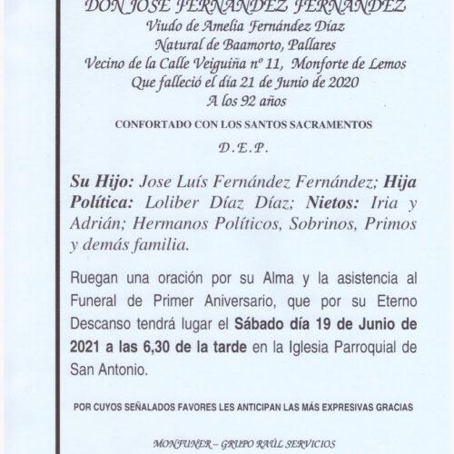 PRIMER ANIVERSARIO DEL SEÑOR JOSE FERNANDEZ FERNANDEZ